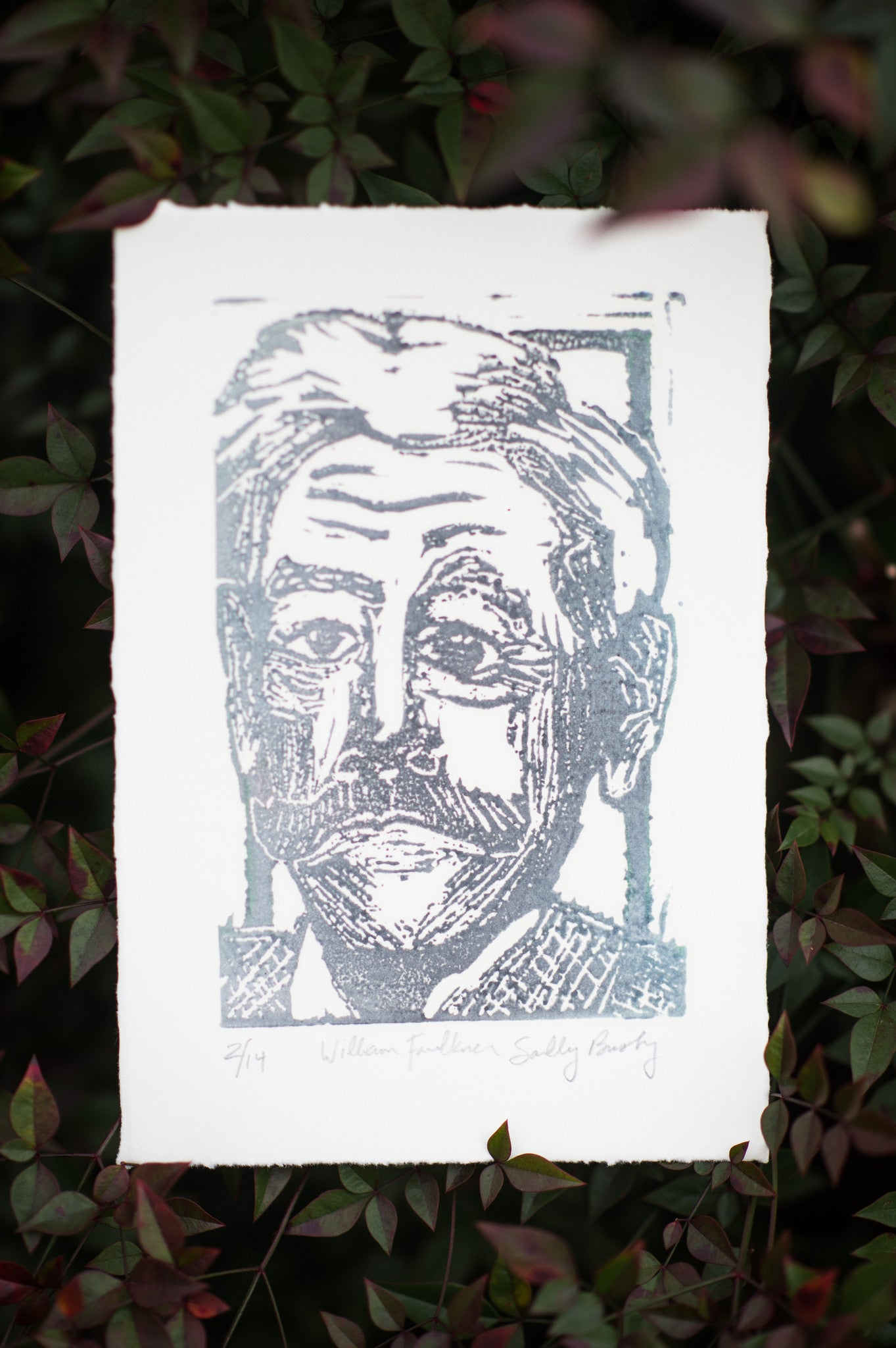 William Faulkner Hand Pulled Linocut Art Print literary gift by Eastgrove Studio