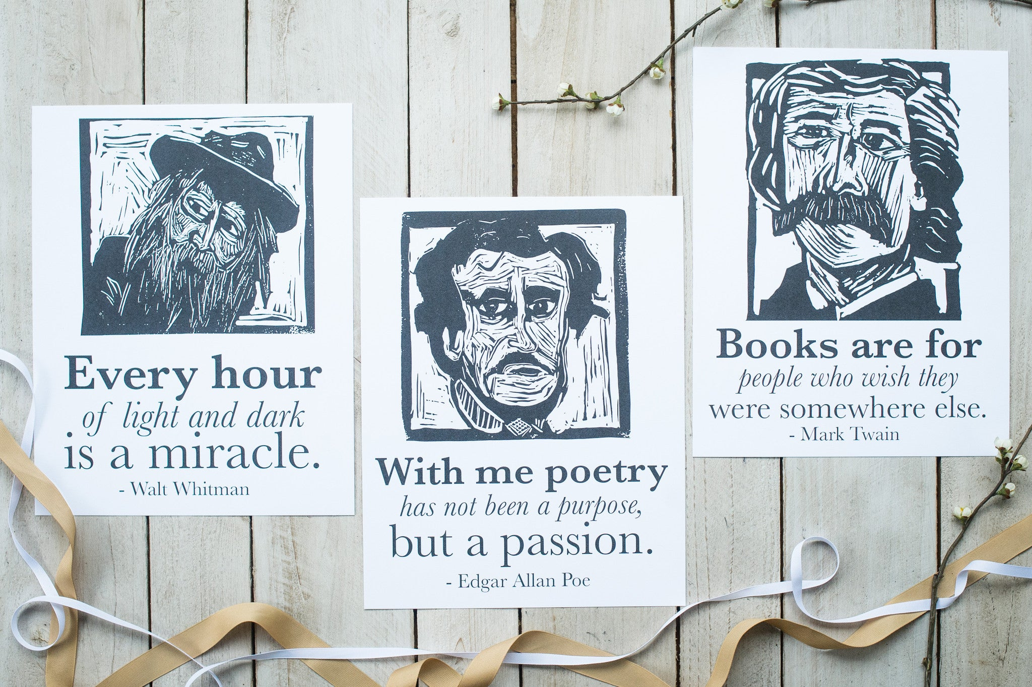 Art print poster set with Walt Whitman, Edgar Allan Poe, and Mark Twain literary gifts by Eastgrove Studio