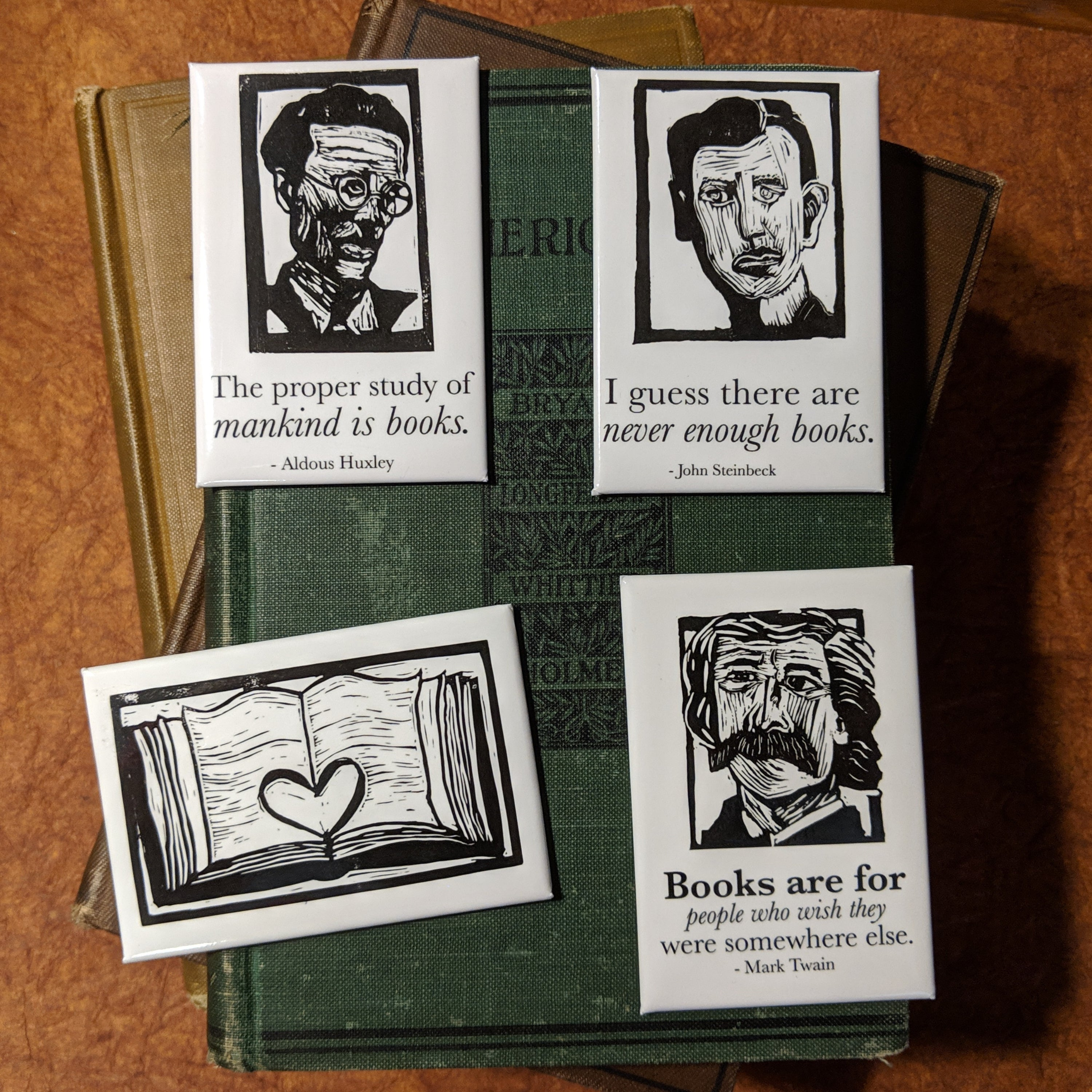 Literary Magnet Set for Book Lovers, 4 magnets