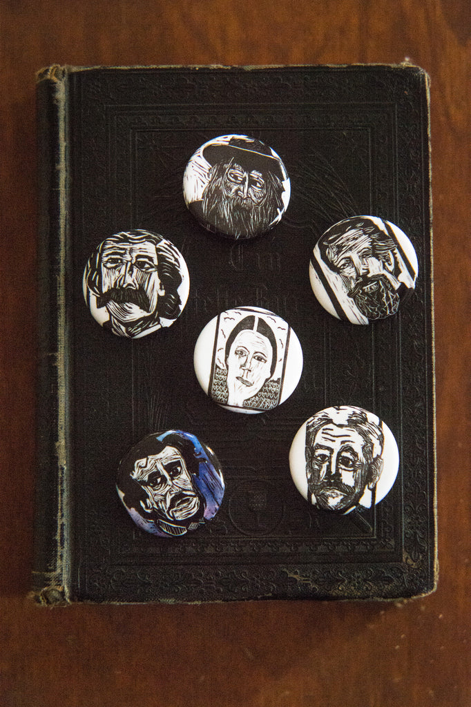 Button Flair of Whitman, Poe, Twain, Dickinson, Faulkner, and Melville by Eastgrove Studio