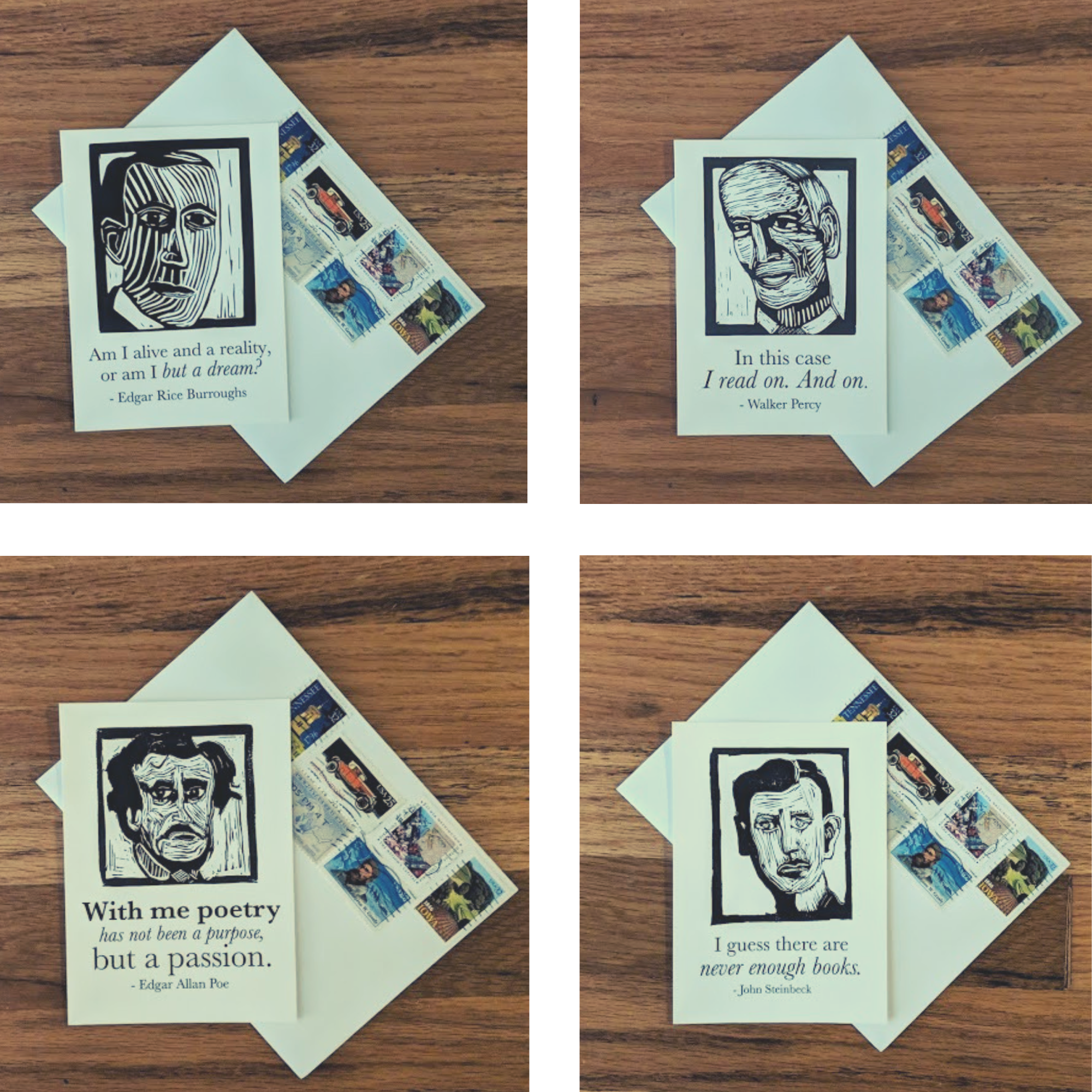 Set of 19 Postcards of Classic Authors with Quotes