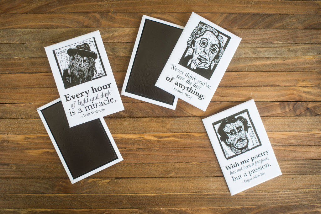 Magnet set with Edgar Allan Poe, Mark Twain, Walt Whitman, Eudora Welty and Truman Capote literary gifts by Eastgrove Studio