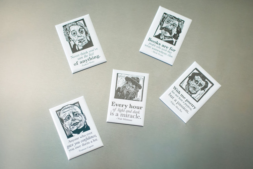 Magnets of Edgar Allan Poe, Mark Twain, Walt Whitman, Eudora Welty and Truman Capote literary gifts by Eastgrove Studio