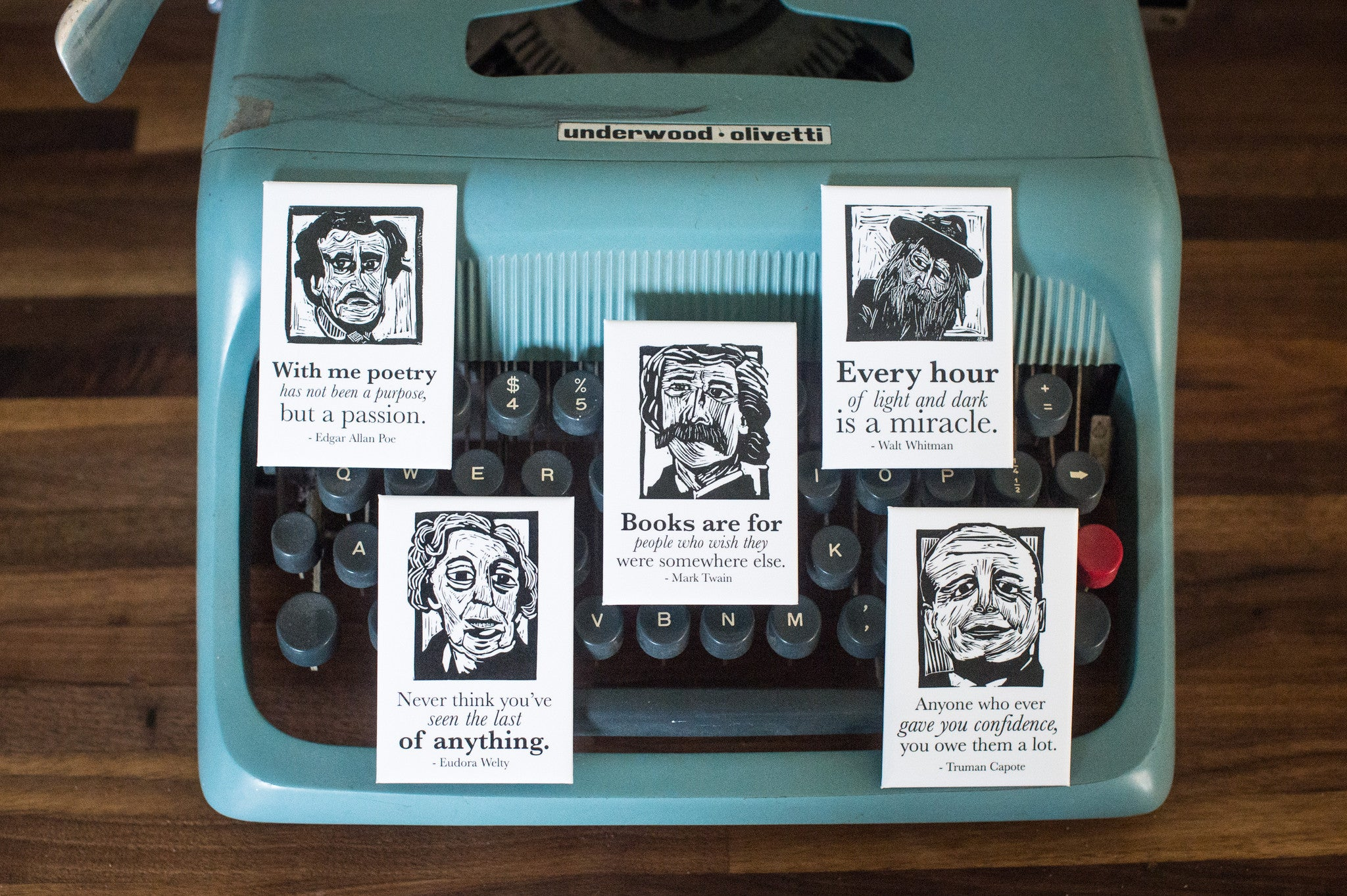 gifts for book lovers Magnet set of Edgar Allan Poe, Mark Twain, Walt Whitman, Eudora Welty and Truman Capote on typewriter literary gifts by Eastgrove Studio