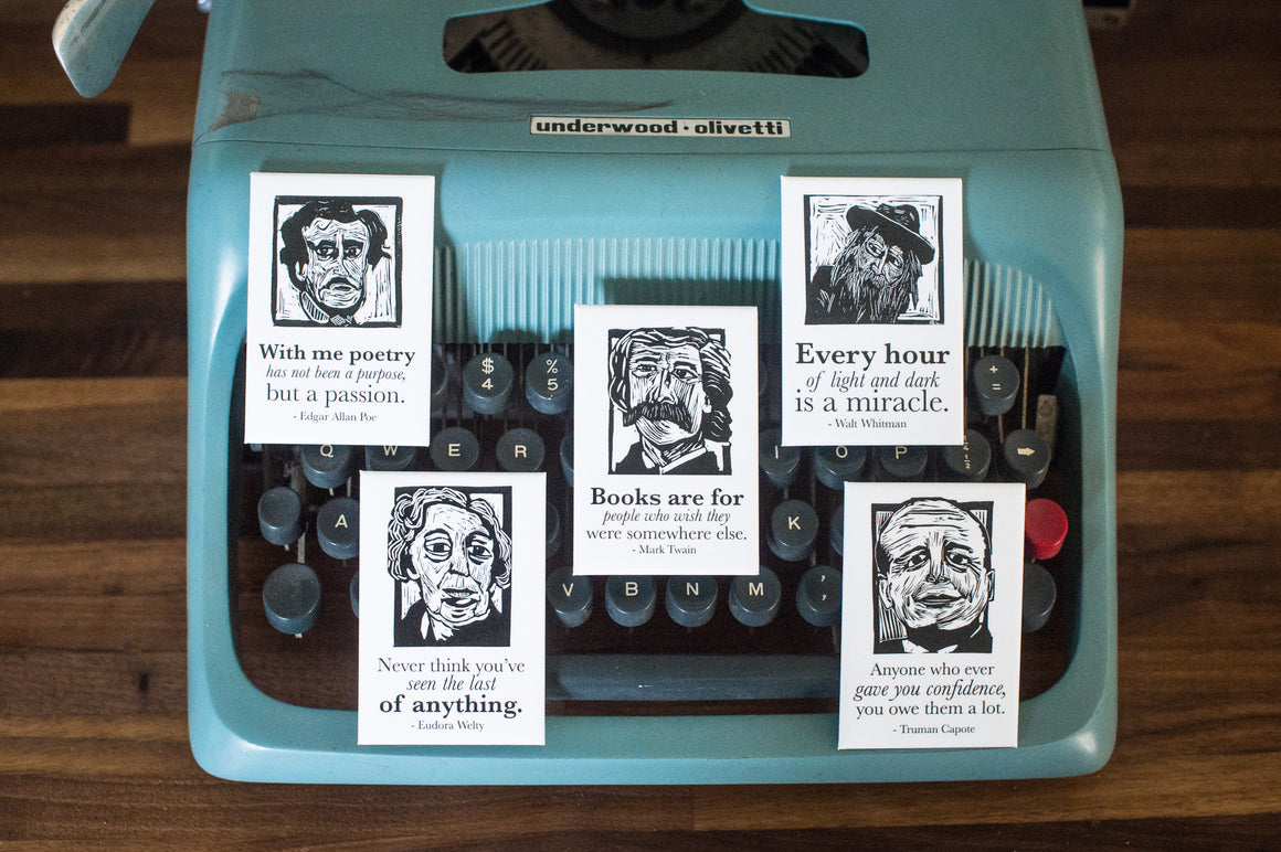 Magnet set of Edgar Allan Poe, Mark Twain, Walt Whitman, Eudora Welty and Truman Capote on typewriter literary gifts by Eastgrove Studio