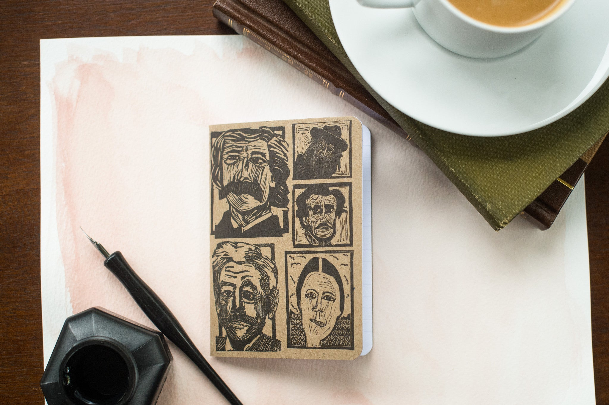 Notebook with Whitman, Twain, Dickinson, Poe and Faulkner prints by Eastgrove Studio.