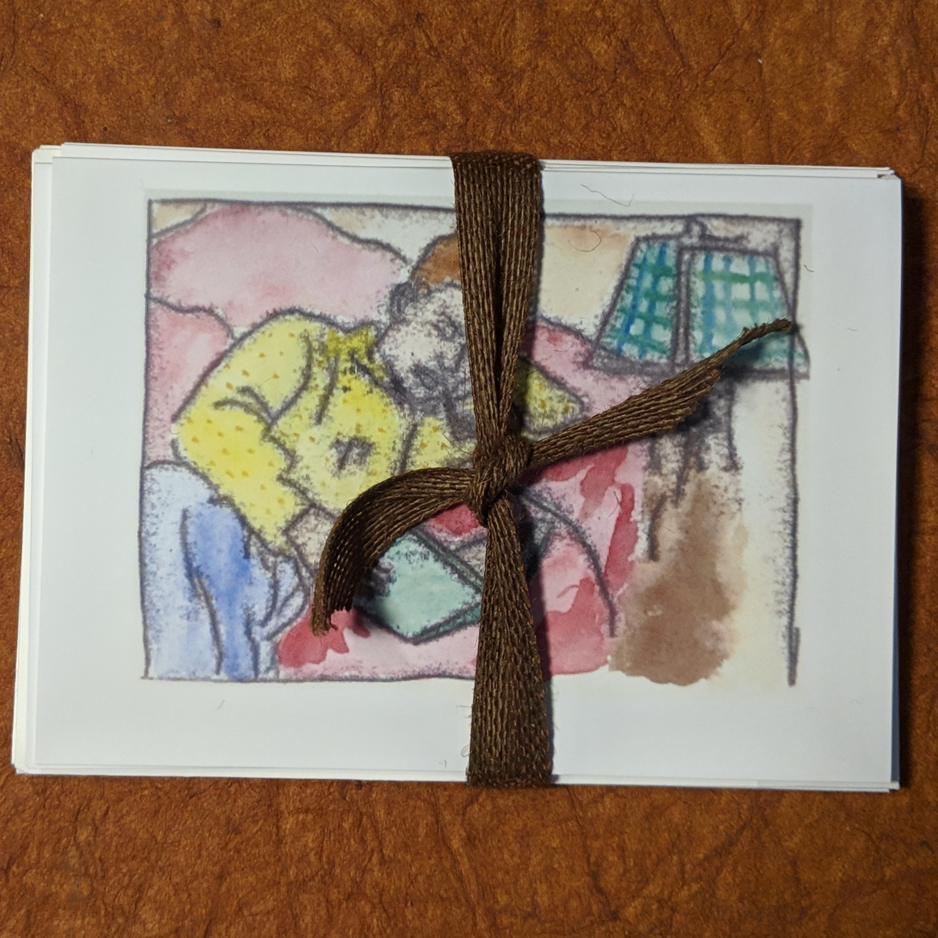 Anywhere, Everywhere - Greeting card Set of Monoprints, 5 greeting cards with envelopes