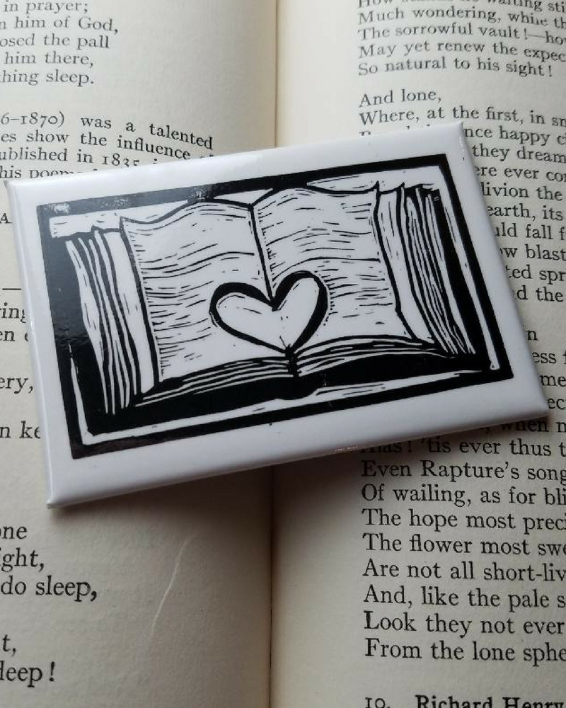 Open Book Heart Literary Kitchen Magnet