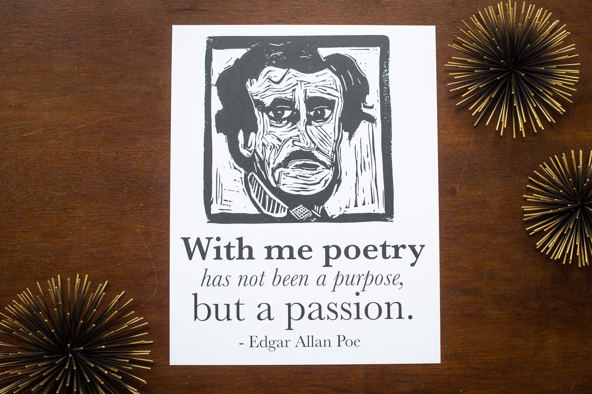 Edgar Allan Poe Art Print poster with poetry quote Literary Gift by Eastgrove Studio