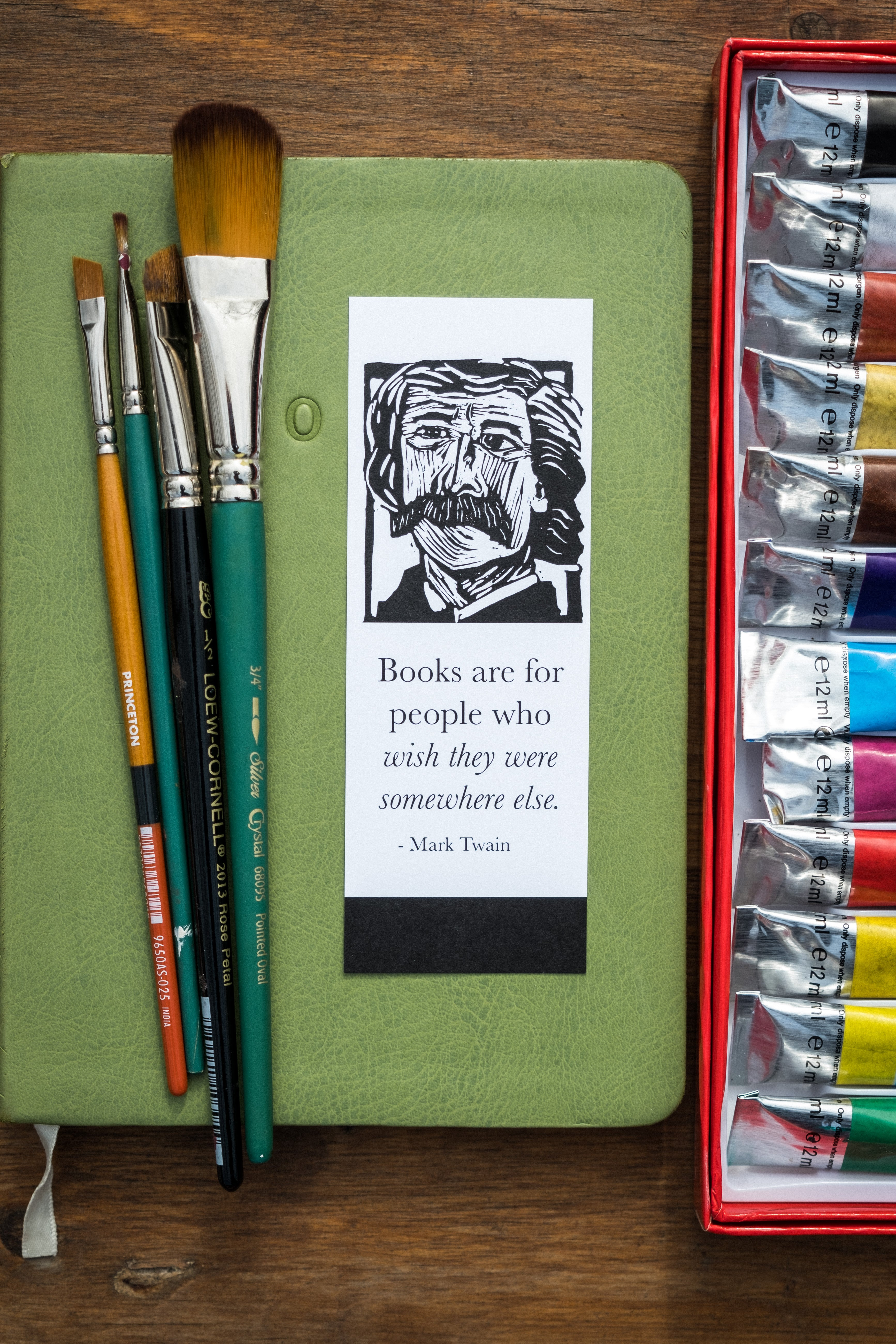 Mark Twain bookmark. East Grove Studio. Literary gifts