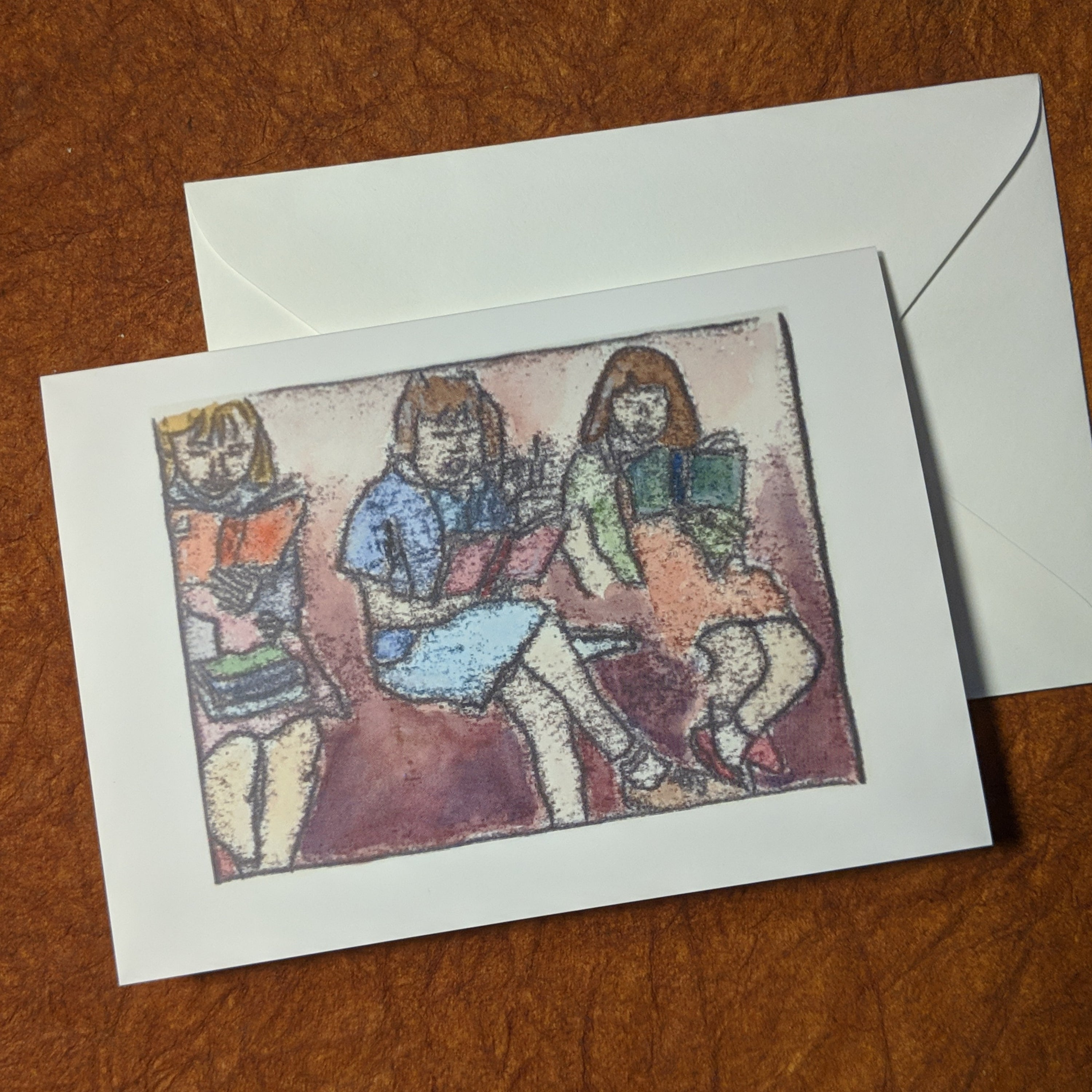Anyone, Everyone - Blank Greeting card Set of Monoprints, 5 greeting cards with envelopes
