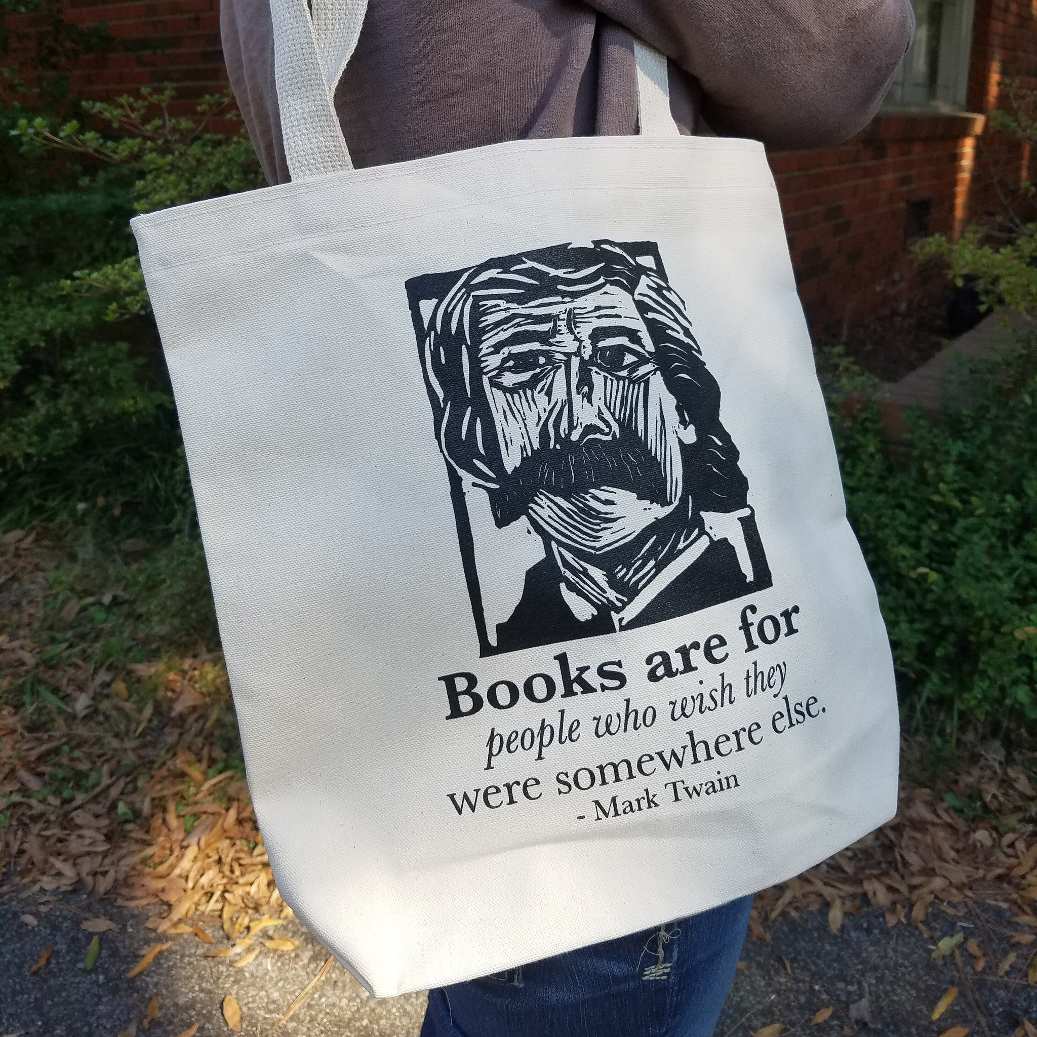 Mark Twain Art Print on totebag with quote Literary gift by Eastgrove Studio