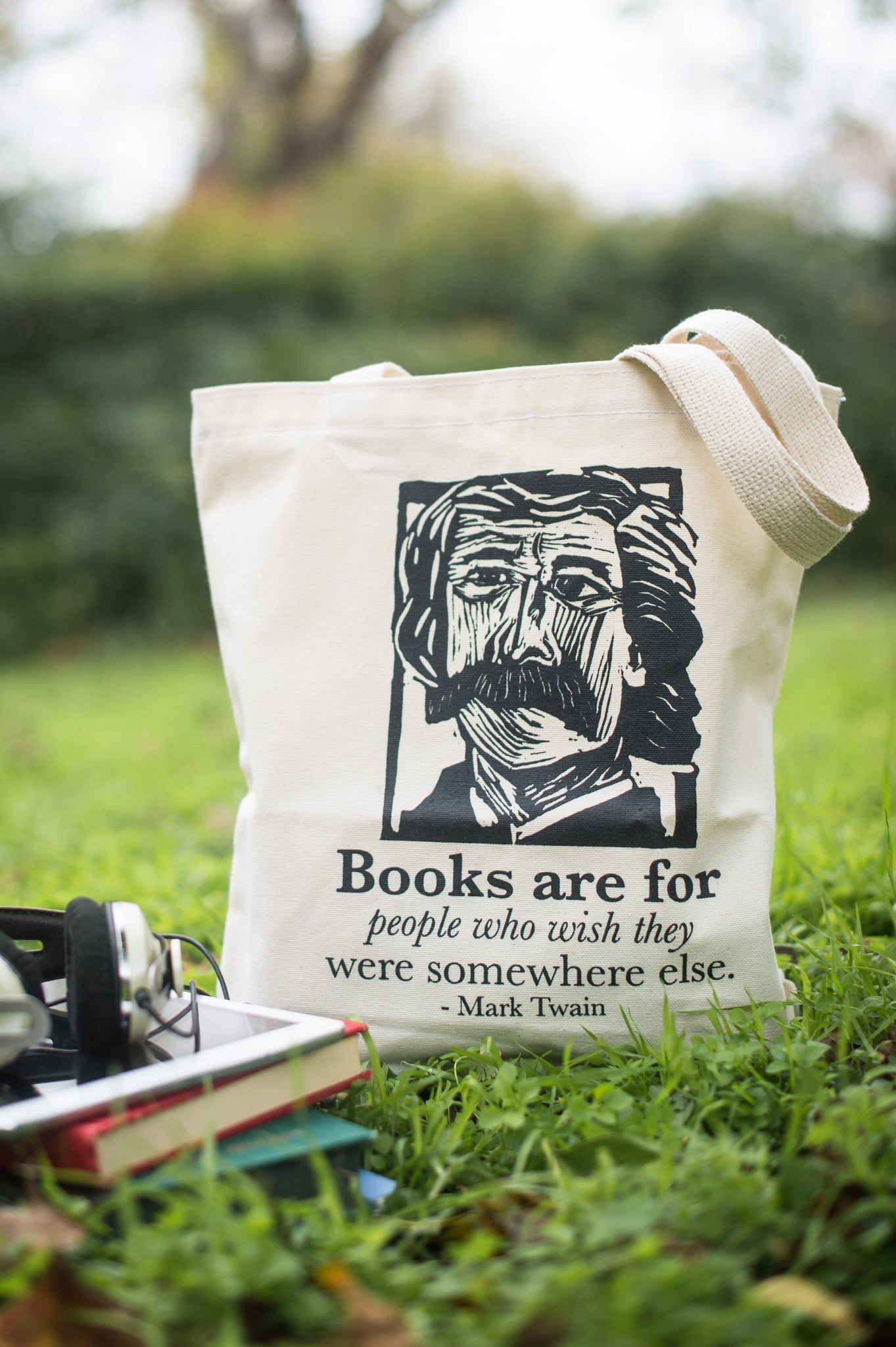 Mark Twain Art Print on totebag with quote and books Literary gift by Eastgrove Studio