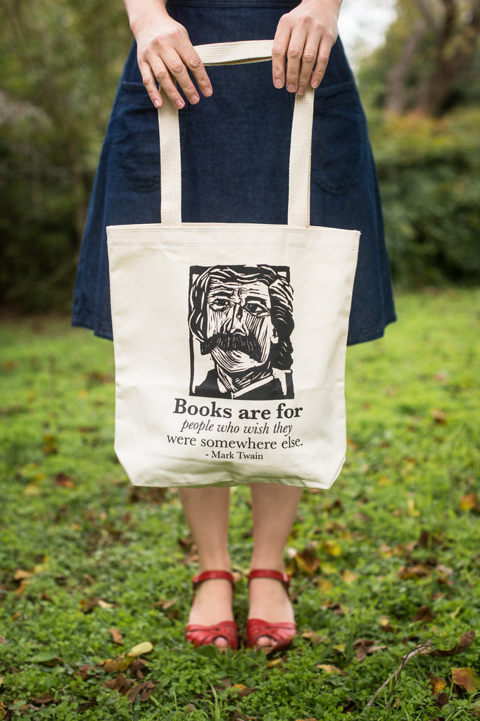 Mark Twain Art Print on totebag with quote blue dress red shoes Literary gift by Eastgrove Studio