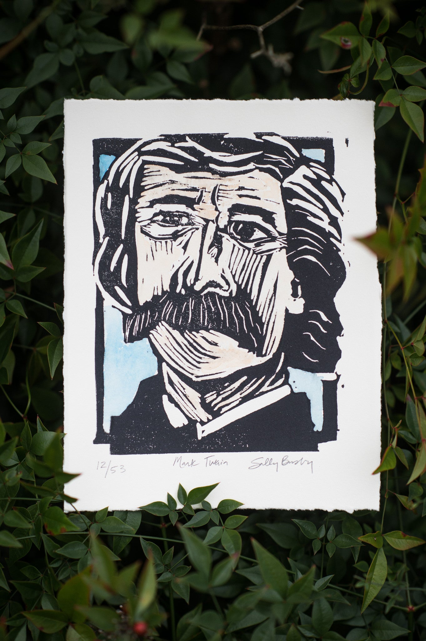 Mark Twain Hand Pulled Linocut watercolored colored limited edition art print Literary gift by Eastgrove studio