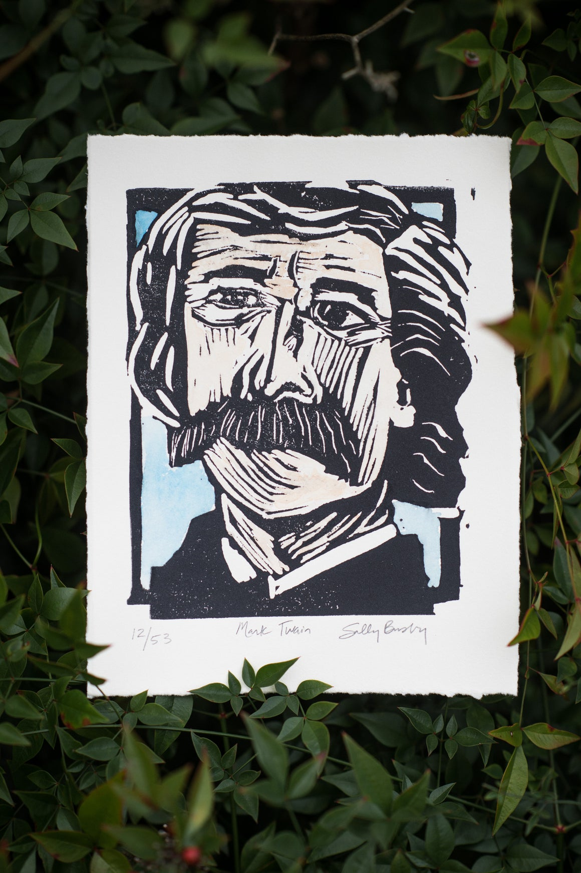 Mark Twain Linocut Print, Watercolored