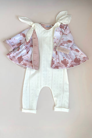 STYLE SET: Valentine Jacket - Periwinkle and In the Meadows Jumpsuit - Ivory