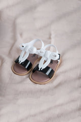 Bow Sandals - White & Black - Outlet