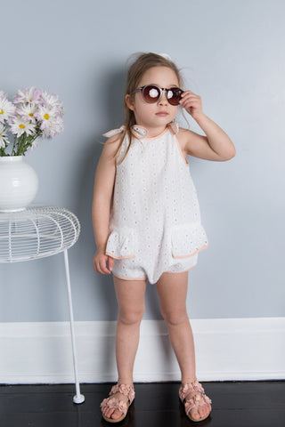 Pudding and Pie Playsuit - White Daisy