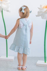 Style Set: In The Sky Pinafore Dress - Heather Blue and Morning Light Top - Floral Broderie