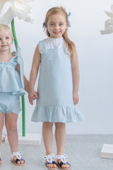 In The Sky Pinafore Dress - Heather Blue