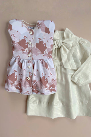 STYLE SET: Valentine Jacket - Periwinkle and Rocking Horse Dress - Gold Linen