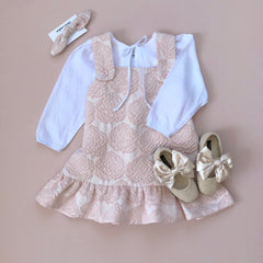 Style Set:  In The Sky Pinafore Dress - Rose Jacquard and Little Bo Peep Blouse - Snow White