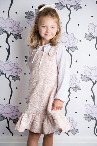 In the Sky Pinafore Dress - Rose Jacquard