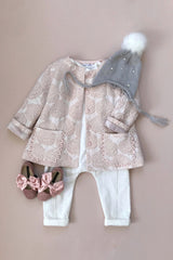 STYLE SET: Hush Little Baby Jacket - Rose Jacquard and In The Meadows Jumpsuit - Ivory