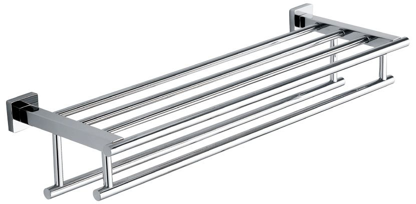Double Hanging Quadruple Towel Bar Rack w/ Square Base (24 Inches) SHINY FINISH