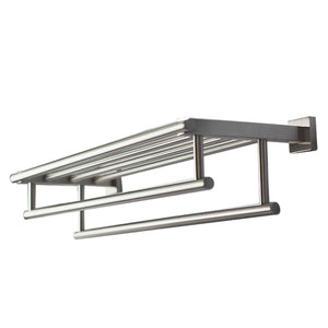 QT Premium Modern Double Hanging Quadruple Towel Bar Rack w/ Square Base (24 Inches) Brushed Finish
