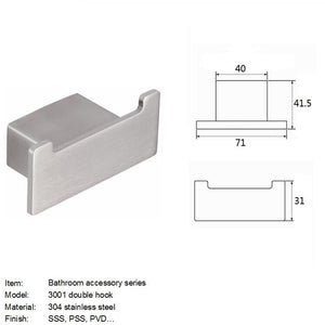 QT Modern Square Double Wall Hook - Stainless Steel