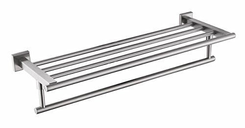 QT Premium Modern Single Hanging Quadruple Towel Rack Bar w/ Square Base (24 Inches)