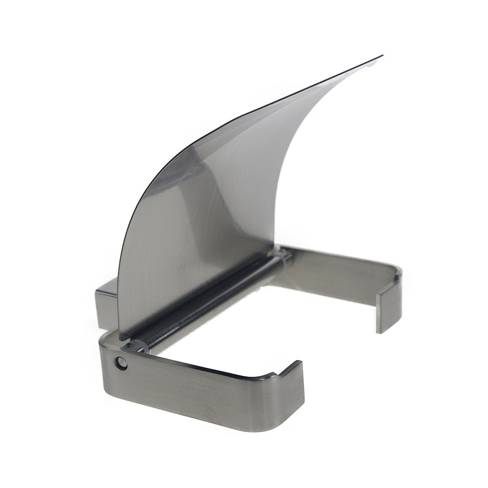 QT Modern Bathroom Toilet Paper Holder with Cover - Stainless Steel