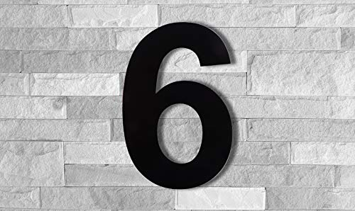 QT Modern House Number - SUPER LARGE 12 Inch BLACK - Stainless Steel, Floating Appearance, Easy to Install and Made of Solid 304