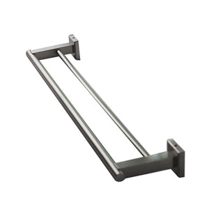 QT Premium Modern Double Towel Bar Rack w/ Square Base (24 Inches)