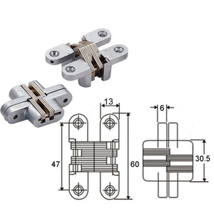 Mortise Mount Invisible / Concealed Hinges (2-3/8 Inch Leaf Height) - 2 Hinges