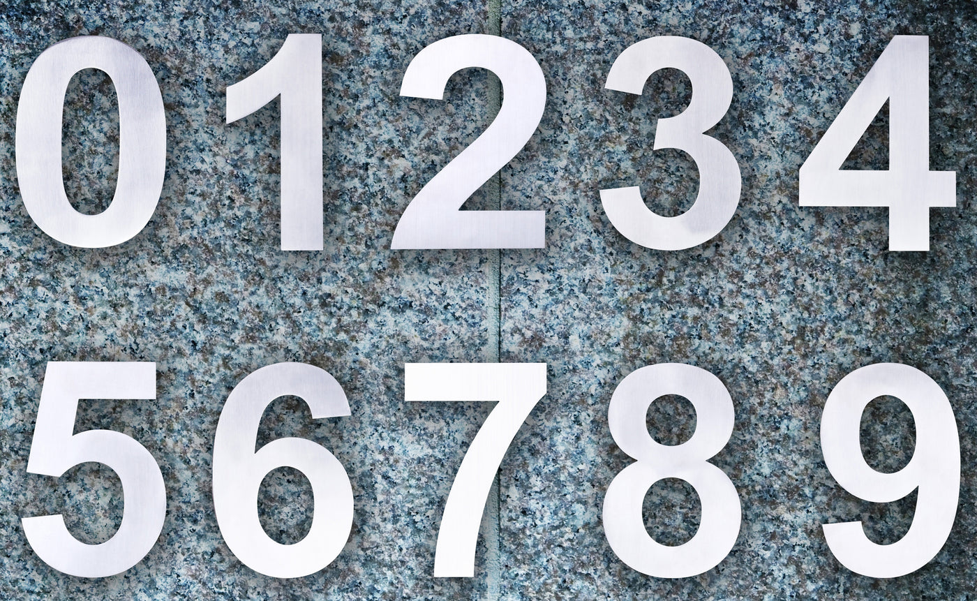 Q Home Decor - Modern House Numbers (Stainless Steel) - ^