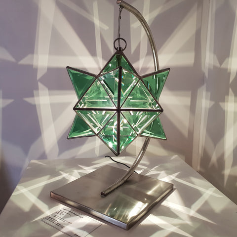 emerald green geometric lamp