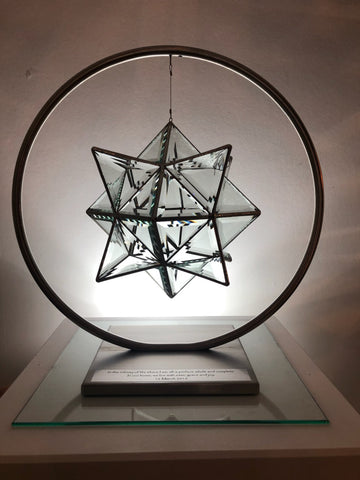 hadar glass sculpture in stand with engraving