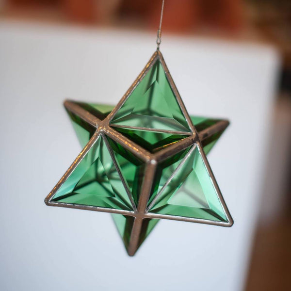 Merkaba Glass Sculpture in Sapphire Blue, Clear Double Bevelled or Emerald Green Glass