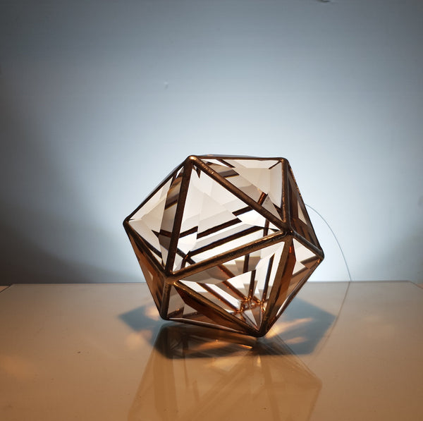 Ankaa Icosahedron - Rose Gold, Blue and Clear