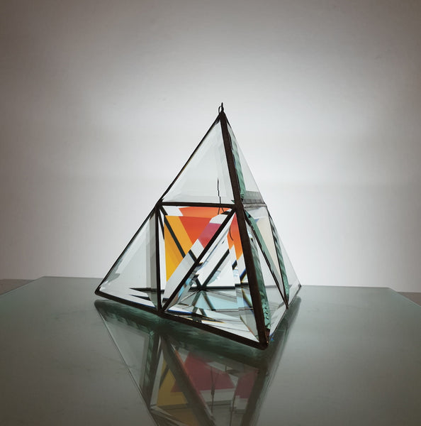 Orion Geometric Glass Sculpture - Clear Glass with Dichroic Panel - Tetrahedron
