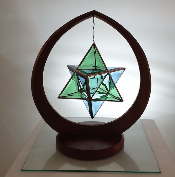 Ariel - Merkaba Sapphire Blue & Emerald Green with Copper finish in Stand