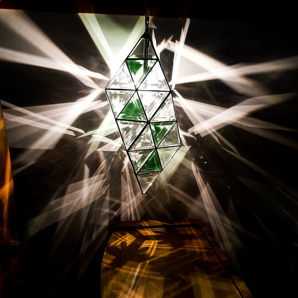 Atlantis Geometric Pendant Light - 48cm | Clear Double Bevelled, Rose Gold & Emerald Green Glass
