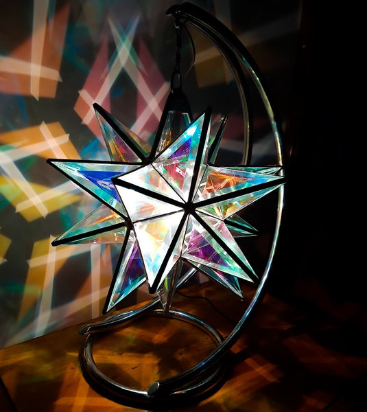 Sextans Geometric Pendant Light | 35cm | Dichroic Glass
