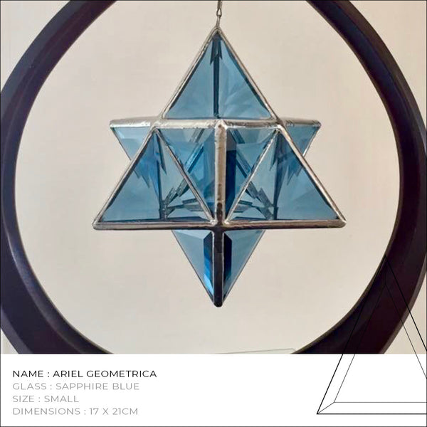 Star Tetrahedron - Merkaba in Emerald Green/Sapphire Blue or Clear Glass