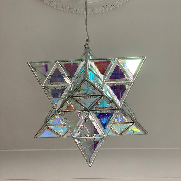 Ariel Luminary - Star Shaped Pendant Light - Two Sizes - Dichroic Clear Glass