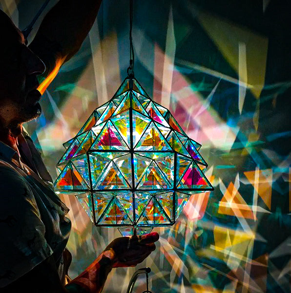 64 Tetrahedron - Large Geometric Pendant Light - 2 sizes dichroic