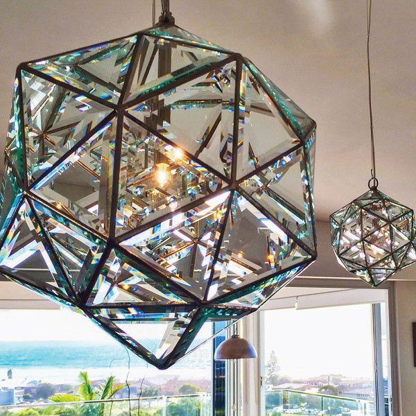 Zaniah Luminary - Geometric Chandelier - Two Sizes - Double Bevelled Glass